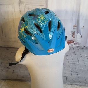 3/$30 Bell Blade blue yellow floral bike helmet